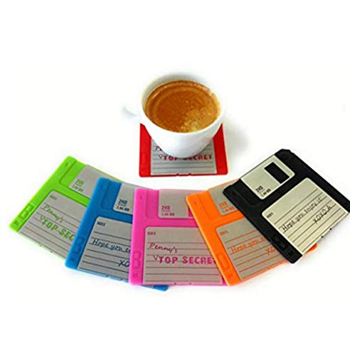 MOSBUG Set of 6 Floppy Disk Coasters - Fun, Colorful Decoration for your Table | GR8 Gift for Computer Enthusiasts, Free E-Book
