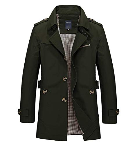 Mens Long Double Breasted Trench Coat Gentlemen Formal Wear Jacket Overcoat Outfits Pea Coats (Green, XL)