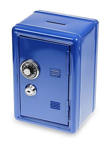 Monsterzeug Spaarpot kluis - blauw, spaarpot, solide mini kluis met sleutel, 18 x 12 x 10 cm