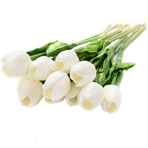 12Pcs Artificial Tulip Real Touch Tulip Flowers Fake Silk Flowers for Vases Wedding Home Room Party Decoration (White)