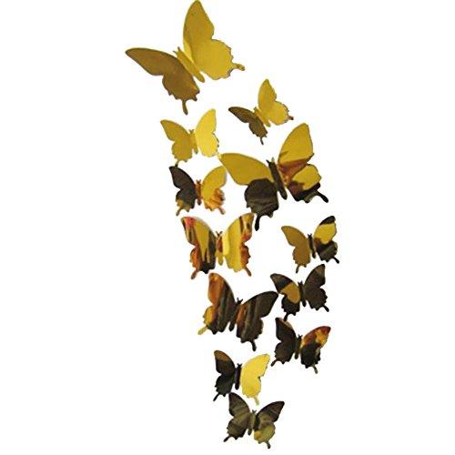 sunnymi – Adhesivo de Pared 3D de Espejo con Mariposas y Mariposas, 12 Unidades, Pegatinas para Pared, Espejos 3D, decoración para el hogar, PVC, Dorado, L:11CM; M:8CM; S:6.5CM