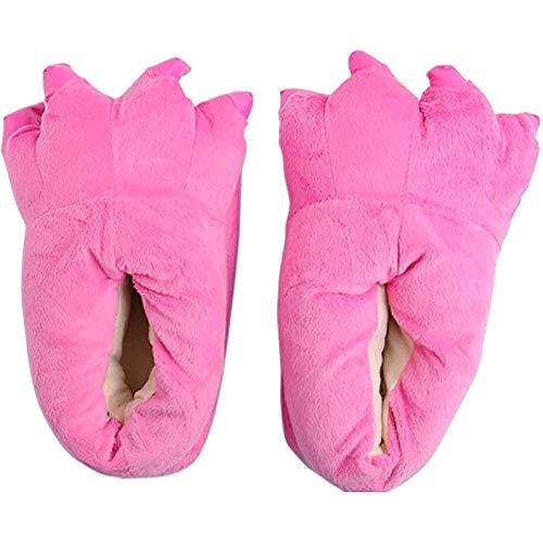 ZHER-LU Pantoufles en forme de patte d'animal en peluche, unisexe, costume en peluche, chaussons de costume d'animal - Rose - rose, 38.5 EU
