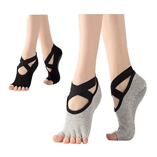 Sfigur Yoga Socken Set - Damen 2 Paare Schwarz und Grau zehenfrei rutschfest Socken rutschfeste Joga Pilates Socke mit einzelnen Zehenkammern Sportsocken für Poledance, Pilates und Yoga-Kurse