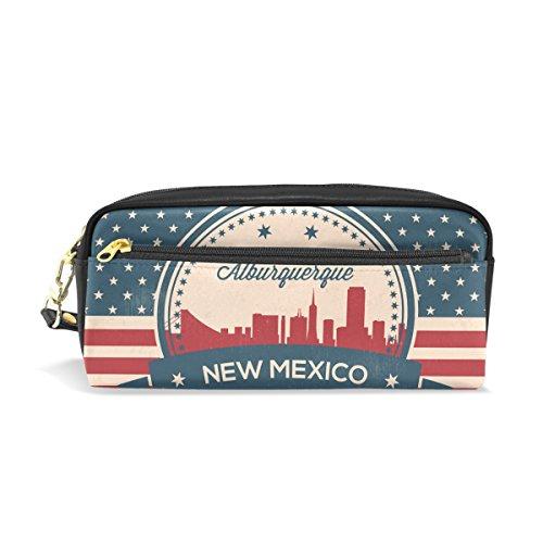 Estuche de piel sintética con diseño de la bandera estadounidense de Nuevo México, estilo Alburquerque Skyline