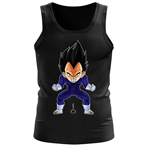 Okiwoki Débardeur Homme Noir Parodie Dragon Ball Z - DBZ - Végéta - Super Caca Vol.2 (Débardeur de qualité Premium de Taille S - imprimé en France)