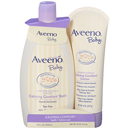 Aveeno Baby Calming Comfort Bath & Lotion Set, Baby Skin Care Products with Natural Oat Extract, Lavender & Vanilla, 2 Items