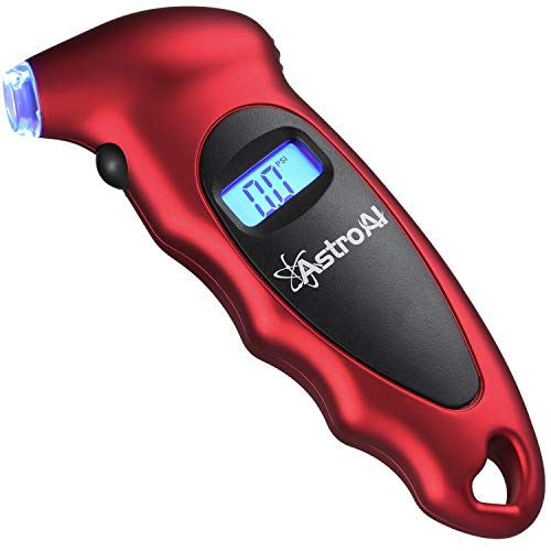 AstroAI Digital Tire Pressure Gauge 150 PSI 4 Settings for Car Truck Bicycle with Backlit LCD and Non-Slip Grip, Red (Renewed)