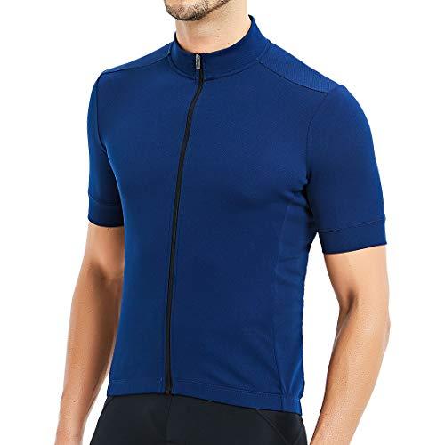 CATENA Men's Cycling Jersey Short Sleeve Shirt Running Top Moisture Wicking Workout Sports T-Shirt Blue, D-blue, Medium