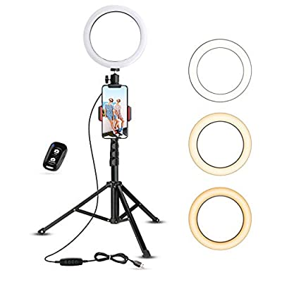 """8"""" Selfie Ring Light with Tripod Stand & Cell Phone Holder for Live Stream/Makeup by UBeesize"""