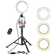 20,3 cm Selfie-Ringlicht mit Stativ und Handy-Halterung für Live-Stream/Make-up, UBeesize Mini-LED-Kamera-Ringlicht für YouTube-Video/Fotografie, kompatibel mit iPhone XS Max XR Android (Upgraded)