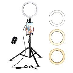 【Dimmable Ring Light】Featuring 3 color lighting modes: Warm Light (3000K), Cool White (4500K), and Day Light (6000K), and each mode has 11 brightness levels, 33 options in total. UBeesize ring light will meet all your needs in different circumstances...