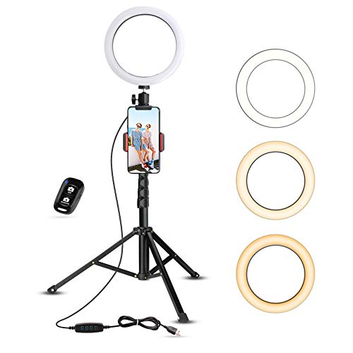 Selfie Ring Light with Tripod Stand & Cell Phone Holder for Live Stream/Makeup, UBeesize Mini Led...