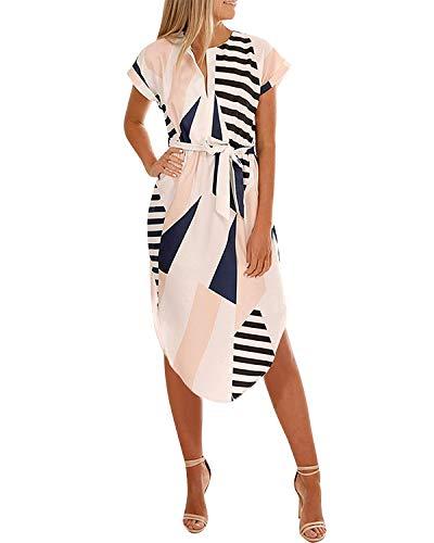 YOINS Damen Sommerkleid Lang V-Ausschnitt Maxikleider Strandkleid Strandmode, Patchwork, Gr.- EU 46/ Herstellergröße- XL