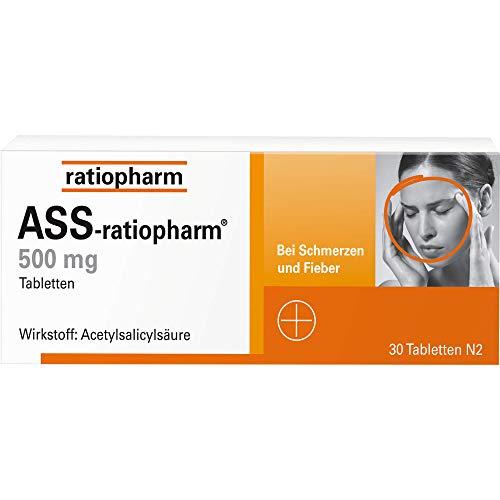 ASS-ratiopharm 500 mg Tabletten bei Schmerzen und Fieber, 30 St. Tabletten