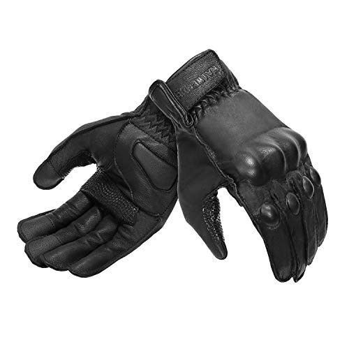Full Finger Leather Motorcycle Gloves Men 's Touchscreen Motorcycle Gloves Knuckle Armored Motorbike Gloves (Non-Perforated, Large)