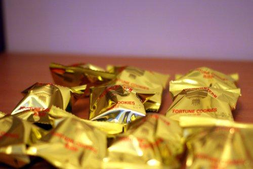 Galletas de la fortuna envueltas en papel dorado - Año Nuevo chino - Obsequio de boda, Gold Wrapped, 50 Cookies