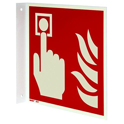 Brandmelder Fahnenschild, Hart-PVC langnachleuchtend, 200 x 200 mm gemäß ASR A1.3 / ISO 7010 F005, Brandschutzzeichen Schild, 20 x 20 cm