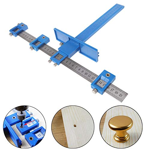 Pannow Adjustable Power Tools Punch Locator, Drill Punch Locator Drill Guide Sleeve Cabinet Hardware Jig/Template Wood Drawer Guide Drilling Dowelling for Installation of Handles