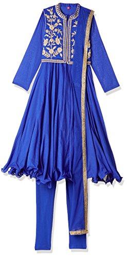 Biba Girls Cotton Anarkali Salwar Suit Set (Kw2613_Blu_5, Blue, 4 Years-5 Years)