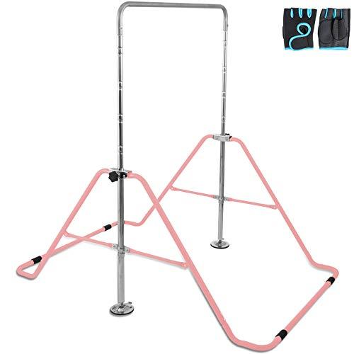 Hopopula Gymnastik Klappstange Horizontale Stange Anpassen Faltbare Ablage Kip Stange Multifunktions Erweiterbare Junior Trainingsstange für Kindern Heimtraining(Pink)