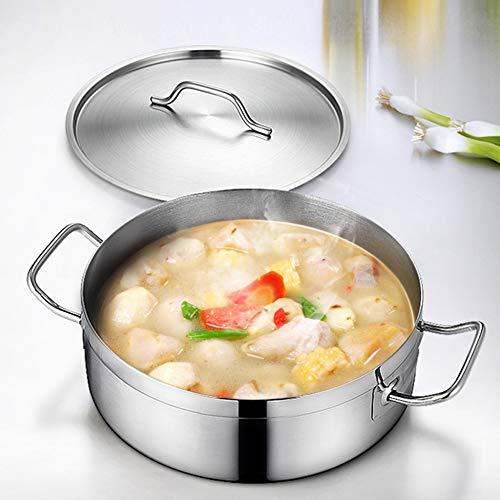 Koken Potplaat Bakplaat Keuken Gereedschap & Gadgets RVS Handvat Kookgerei Nederlandse Oven Koken Soep Melk Hot Pot met Deksel - Zilver S