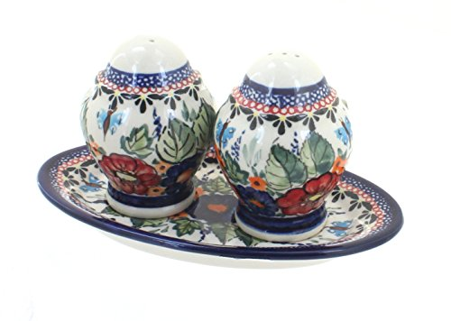 Blue Rose Polish Pottery Floral Butterfly Salt & Pepper Shakers with Dish
