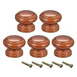 Sourcing Map - Perillas de madera redondas, 5 unidades de 30 mm de diámetro para muebles de cocina para aparador, cajón armario, color rojo