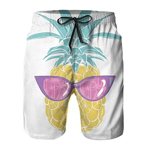 Nixboser Piña amarilla con gafas Exótica Comida Fresca Fruta Naturaleza Verano Tropical Blanco Hombres Corto Bañador Troncos Cortos