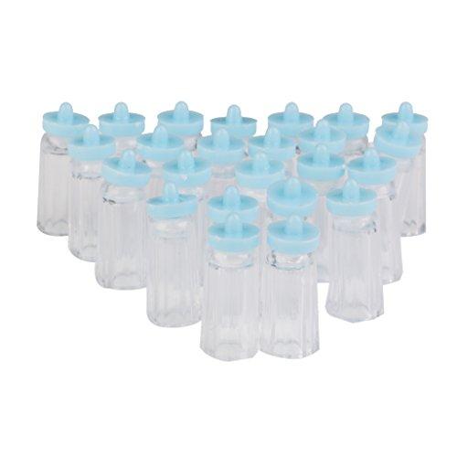 Lot de 24pcs Mini Bouteille Plastique Forme de Biberon Cadeau Décoration pour Fête de Naissance Bleu