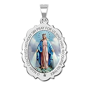 PicturesOnGold.com Miraculous Medal Scalloped Oval - 1/2 Inch X 2/3 Inch - Sterling Silver