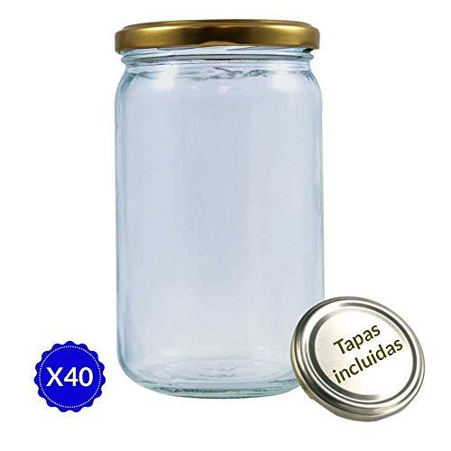 Tarros de Cristal para conservas Pack 40 Unidades de Botes de Cristal con Tapa frascos de Vidrio con Tapas Incluidas recipientes de Cristal para Alimentos de 720ml estanco. (40 Unidades)