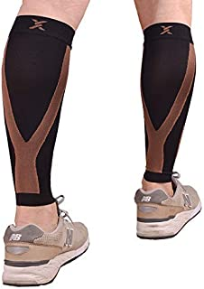 Thx4 Copper Calf Compression Sleeve(20-30mmHg) for Men & Women, Shin Splint Leg Compression Calf Sleeve- Great for Running, Cycling, Travelling- Improve Circulation and Recovery-Large