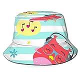 Zhengzho Flat Top Breathable Bucket Hats Cap Unisex Cartoon Style Striped Owl Punchy Pastel Bucket Hat Summer Fisherman's Hat