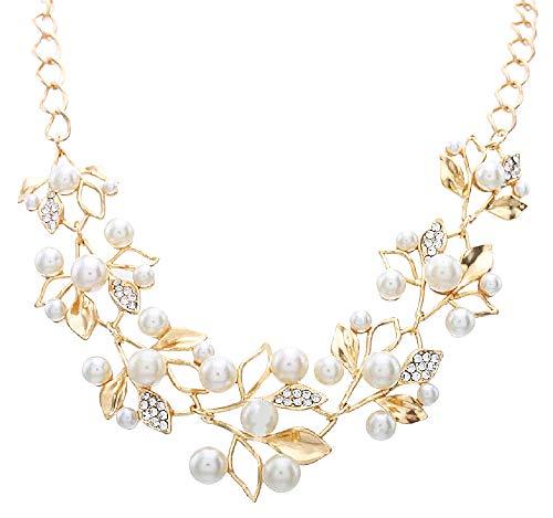 Vrouwelijke ketting - vrouw - parels - choker - bladeren - lichtpunten - bloemen - vrouw - meisje - glitter - kerstmis - origineel cadeau-idee - sierraden - verjaardag - goud - sieraden strass