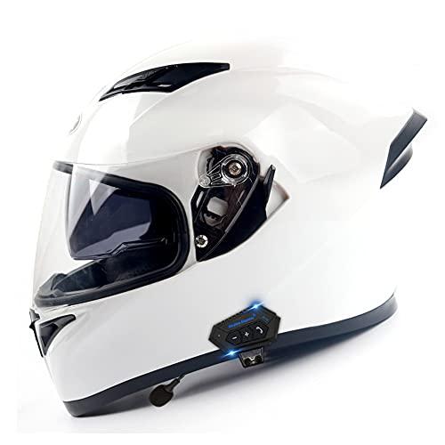 RMBDD Casco de Modular Bluetooth Motocicleta de Cara Completa con Moto ABS con Música Altavoz Incorporado Micrófono Auriculares para Hombres y Mujeres Aprobado por Dot/ECE (57~63CM)