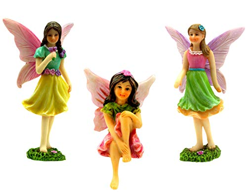 PRETMANNS Fairy Garden Accessories – Miniature Fairy Figurines – Ornaments For Fairy Garden – 3 Pieces
