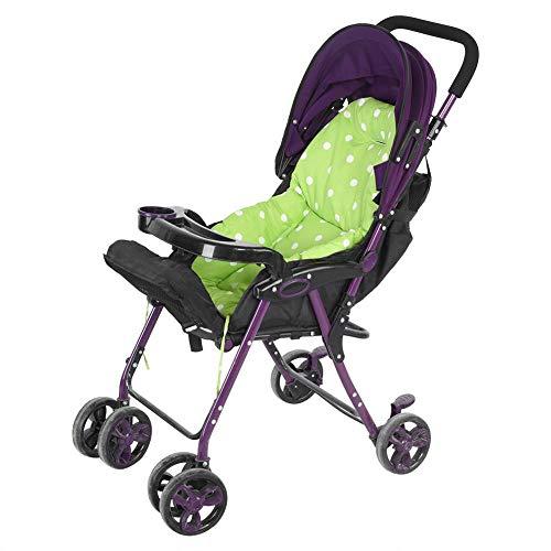 Cojín universal para asiento de cochecito de bebé, precioso cojín de asiento de cochecito de bebé con lunares para bebés y niñas(verde)