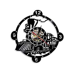 VJIEBF Steam Locomotive Train Wall Clock Vintage Steam Engine Vinyl Record Clock Train Locomotive Wall Decor Train Enthusiast Gift