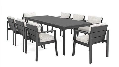 ARTELIA Rosario XL Gartenmöbel Essgruppe Aluminium 8 Personen - Luxus Esstisch Set für Garten, Terrasse, Premium Terrassenmöbel Gartenmöbelset Anthrazit