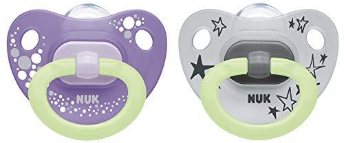 NUK Happy Nights fopspeen met lichteffect, 6-18 maanden, siliconen, 2 stuks met fopspeen box, violet