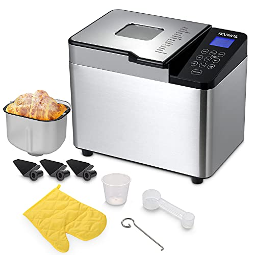 Rozmoz 15-in-1 Bread Maker Machine, 2LB Capacity Automatic Bread Machines, Non-stick Ceramic Pot, Stainless Steel Housing & Sloped Touch Screen, 15h Timer & 60m Keep Warm, 3 Replacement Paddles