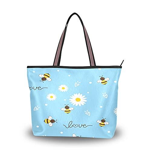 HMZXZ Floral Daisy Bee Bolsos y monedero para mujer Bolsa de mano de gran capacidad asa superior bolsa de hombro Shopper, color Multicolor, talla Large