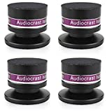 Audiocrast - Juego de 4 púas de aluminio para altavoces, reproductores de CD, DVD, tocadiscos, etc. (negro)