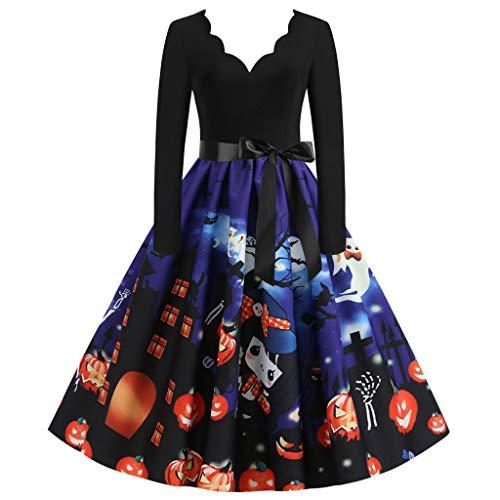 ReooLy Vestido de Fiesta de Fiesta de ama de casa de Las señoras de Halloween de Manga Larga Retro de los años 67(C-Azul,S)