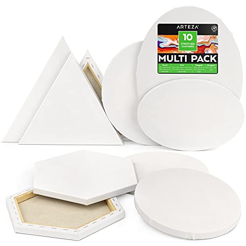 ArtezaStretched Canvas, Multipack of 10, Round, Oval, Triangle, and Hexagonal Shapes, 100% Cotton, 8 oz Gesso-Primed Blank Canvases, Art Supplies for Acrylic Pouring and Oil Painting
