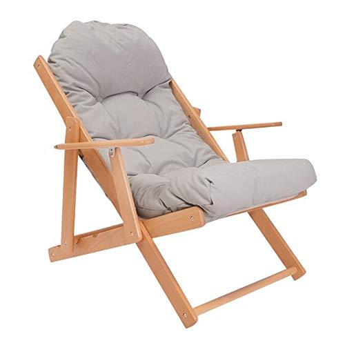 QIDI Lounge Chair , Chaise Pliante Chair Chaise de Pause déjeuner Chaise de Bureau Chaise Nap , Chaise de Balcon , Beech , Simplicité Moderne - Multicolore en Option (Couleur : Gray)