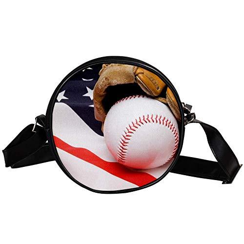 Bennigiry Baseball und Handschuh Damen Runde Umhängetasche Top Handtasche