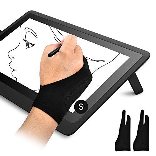 OTraki 2PCS Guantes Tableta Gráfica Palma Rejection Guantes Dibujante Antiincrustantes para Dibujar Diseño Guante de 2 Debos para Niño Mano Pequeño, Talla S (7x18.5CM)