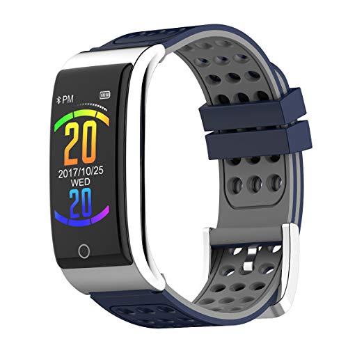 Smartwatch, Zeerkeer Fitness Registrazione schermo a colori braccialetto ECG, adesivo bicolore senza cinghia, aspetto metallico, elettrodi medici, famiglia, i dati in tempo reale da donna