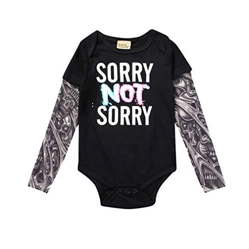 Mxssi Neugeborenes Babyspielanzug Tattoo Sleeve Tattoo Brief Gedruckt Muster Junge Mädchen Baby Kostüm Overall